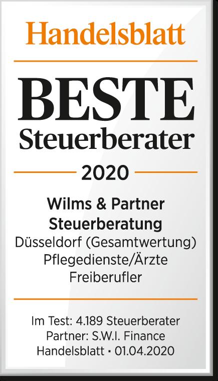 Bester Steuerberater für Pflegedienste Auszeichnung Düsseldorf