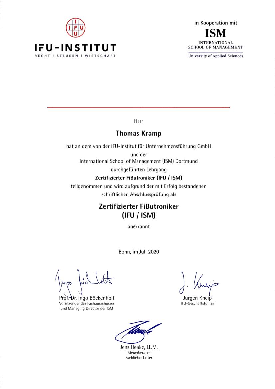 Zertifizierung Fibutroniker - Wilms & Partner Steuerberatung in Düsseldorf